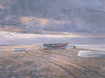 Geese paintings: A painting of Blakeney Point and pink-footed geese, wildfowl