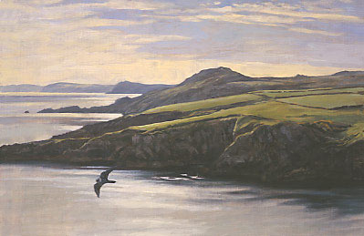 Painting of peregrine falcon, Falco peregrinus flying round the coast near Strumble Head, Pembrokeshire