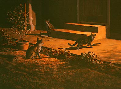 Original oil painting, Urban red fox and domestic cats