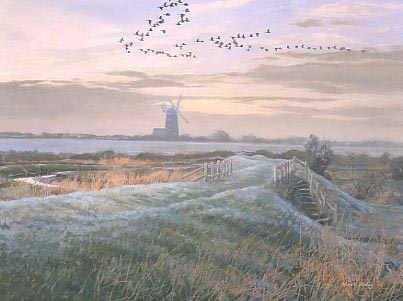 Geese paintings: A painting of Burnam Overy Staithe windmill and pink-footed geese, wildfowl