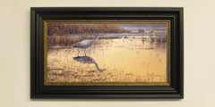 Framed grey heron print for sale