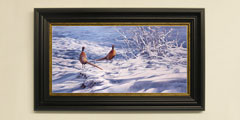 Framed pheasants in snow print for sale