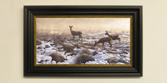 Framed roe deer in snow print for sale