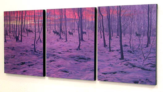 Red Deer Stags in Snow Print - Triptych of block canvas prints