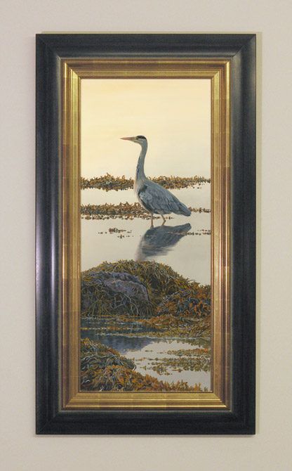 framed grey heron oil painting for sale