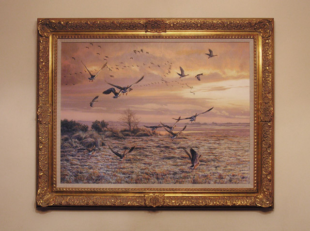 framed greylag geese oil painting for sale