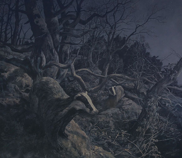 Moonlight wood - Painting of badgers emerging from their sett