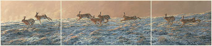 original oil painting - chasing brown hares triptych