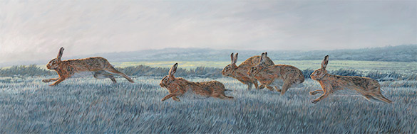 Oil painting capturing the movement of running hares painted on three panels
