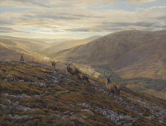 Oil painting depicting the view from Creag nan Gabhar near Braemar with a line of red deer stags