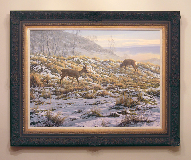 Ready framed original oil painting of roe deer in snow