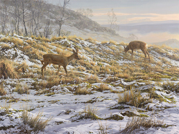thawing snow - roe deer oil painting