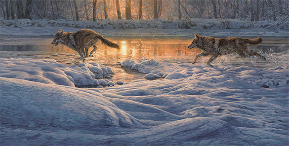 Running wolves chasing across snow. Oil painting for sale
