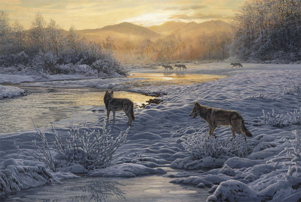 Oil painting on canvas of a pack of wolves in the snow