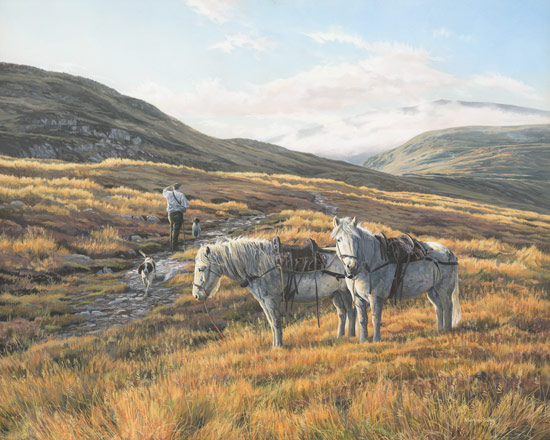Stalking Ponies / Highland Garrons Picture -  Oil Painting by Martin Ridley