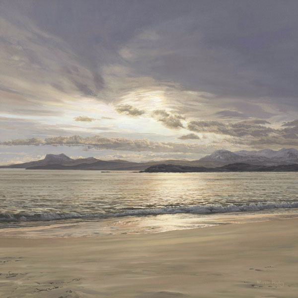 Oil painting of Melon Udrigle Beach Near Laide on the West Coast of Scotland the views are towards the mountain of An Tealach, Scottish Beach Pictures