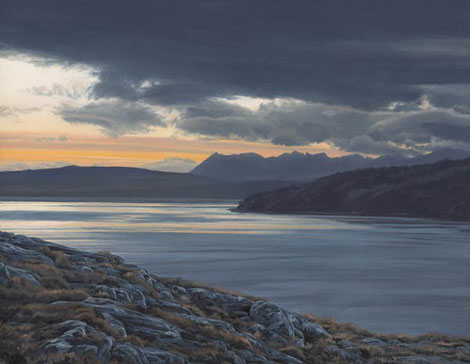 Scottish Lochs - Landscape painting from Arnisdale across the mouth of Loch Hourn to the Cuillins of Sky