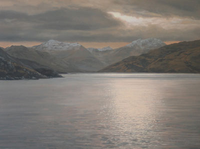View from near Arnisdale across Loch Hourn to the Knoydart Mountains